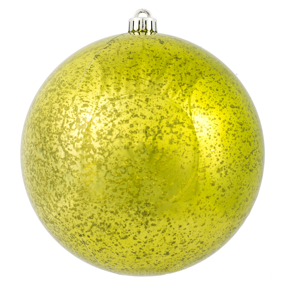 8 Inch Lime Green Shiny Mercury Christmas Ball Ornament Shatterproof