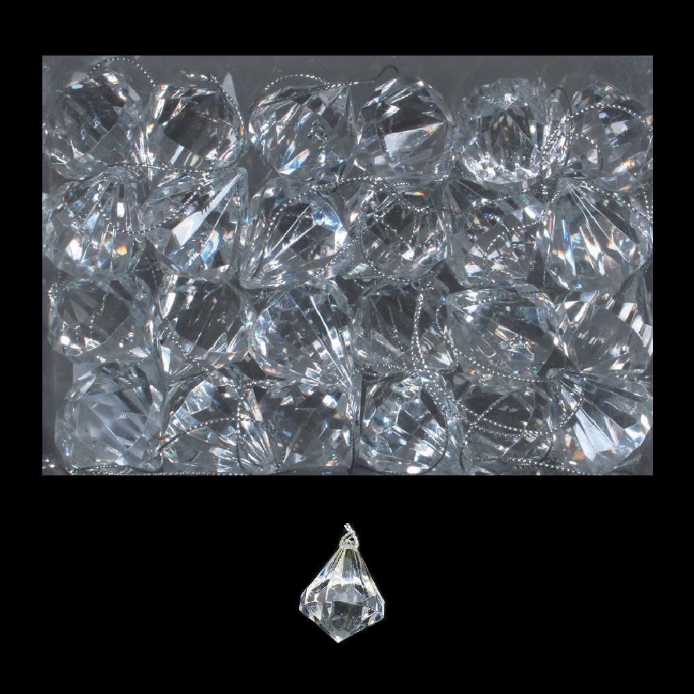 1 Inch Clear Acrylic Diamond Ornament 24 Bx