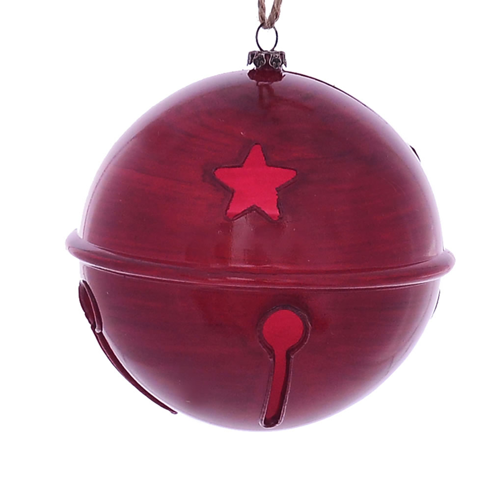 4.75 Inch Red Wood Grain Bell Christmas Ornament