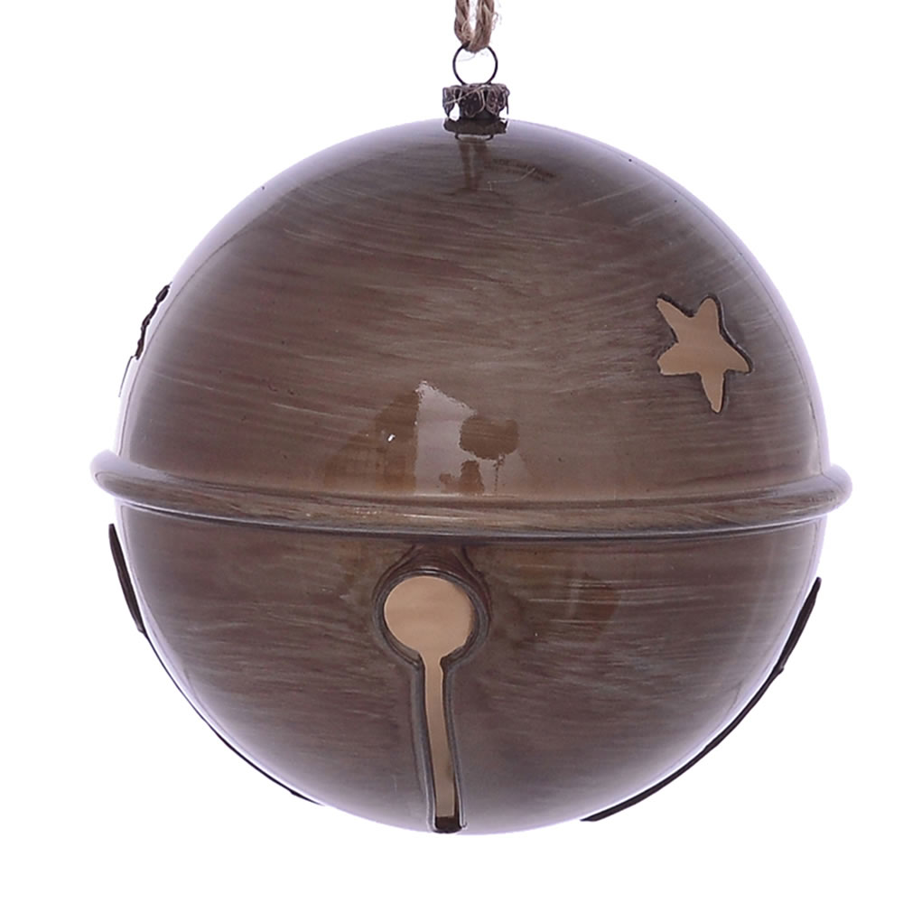 6 Inch Pewter Wood Grain Bell Christmas Ornament