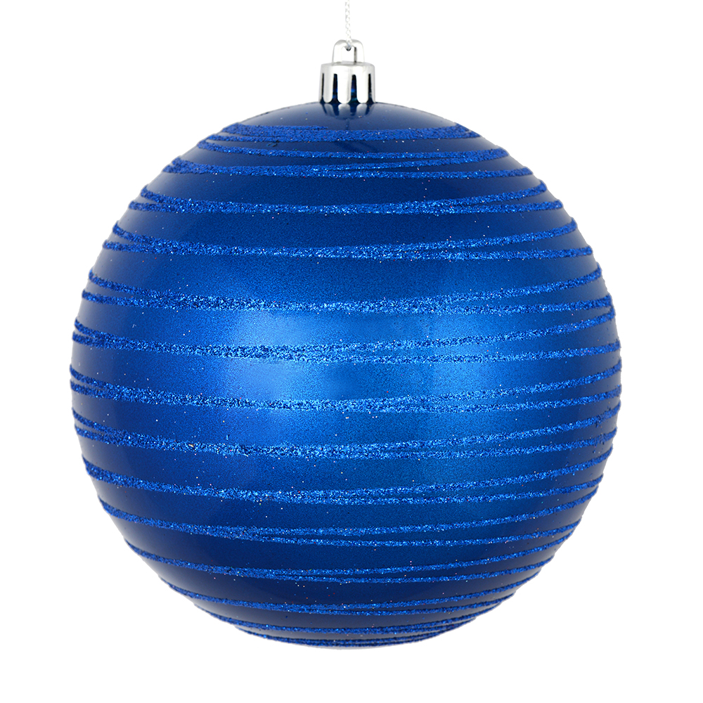 3 Inch Blue Candy Glitter Lines Round Christmas Ball Ornament Shatterproof