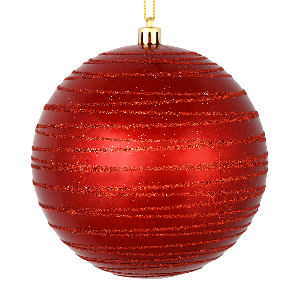 3 Inch Red Candy Glitter Lines Round Christmas Ball Ornament Shatterproof