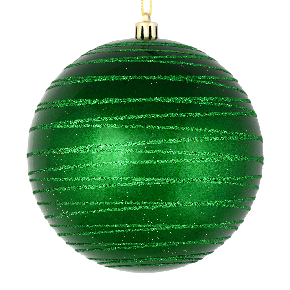 3 Inch Green Candy Glitter Lines Round Christmas Ball Ornament Shatterproof