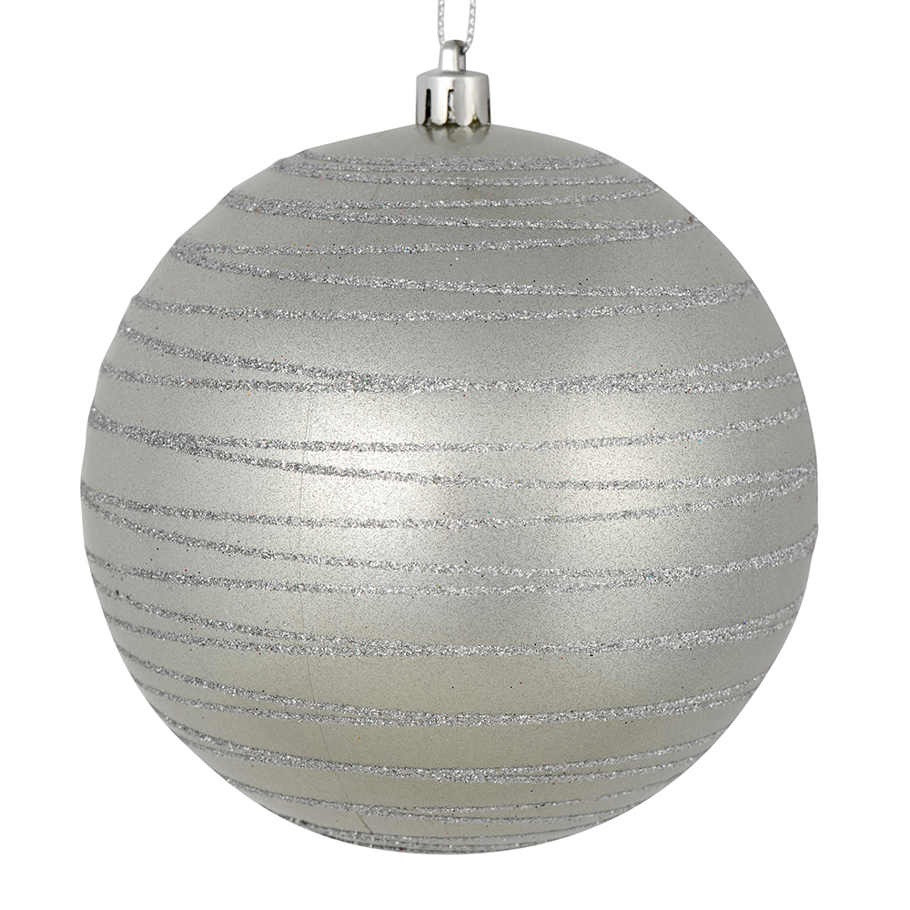 3 Inch Silver Candy Glitter Lines Round Christmas Ball Ornament Shatterproof