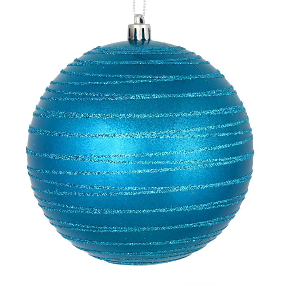 3 Inch Turquoise Candy Glitter Lines Round Christmas Ball Ornament Shatterproof