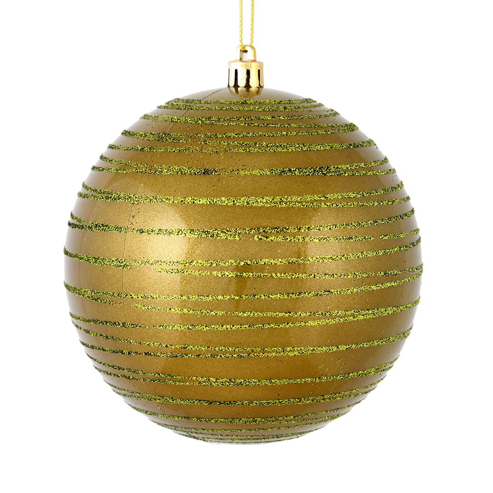 3 Inch Olive Green Candy Glitter Lines Round Christmas Ball Ornament Shatterproof