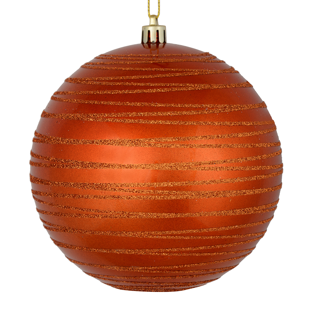 3 Inch Burnish Orange Candy Glitter Lines Round Christmas Ball Ornament Shatterproof