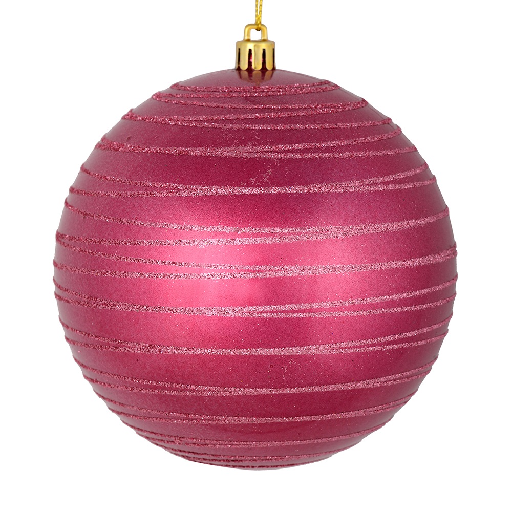 3 Inch Berry Red Candy Glitter Lines Round Christmas Ball Ornament Shatterproof