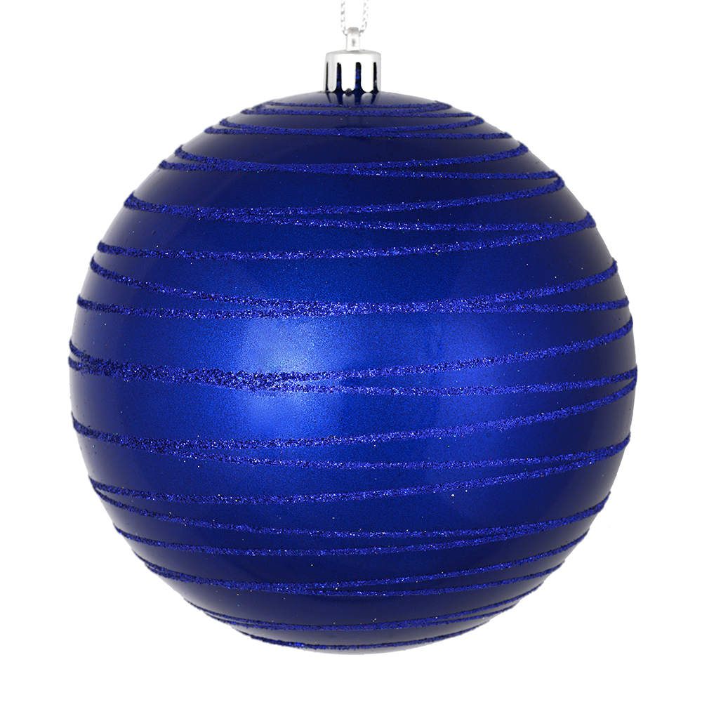 3 Inch Cobalt Blue Candy Glitter Lines Round Christmas Ball Ornament Shatterproof