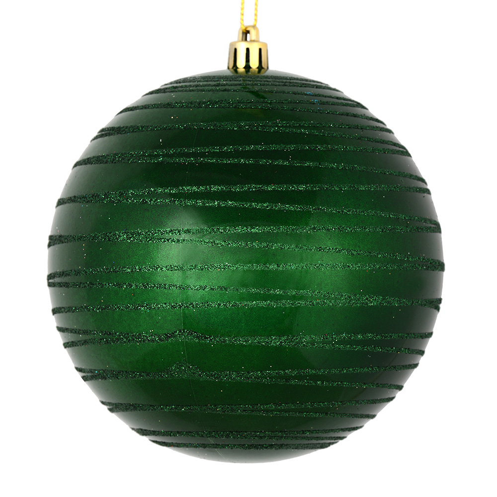 3 Inch Emerald Green Candy Glitter Lines Round Christmas Ball Ornament Shatterproof