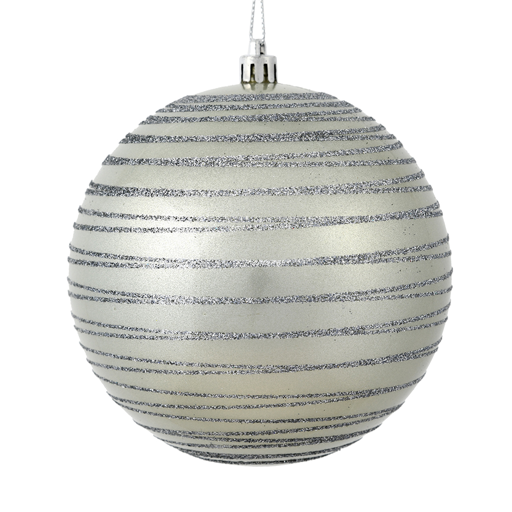 3 Inch Limestone Gray Candy Glitter Lines Round Christmas Ball Ornament Shatterproof
