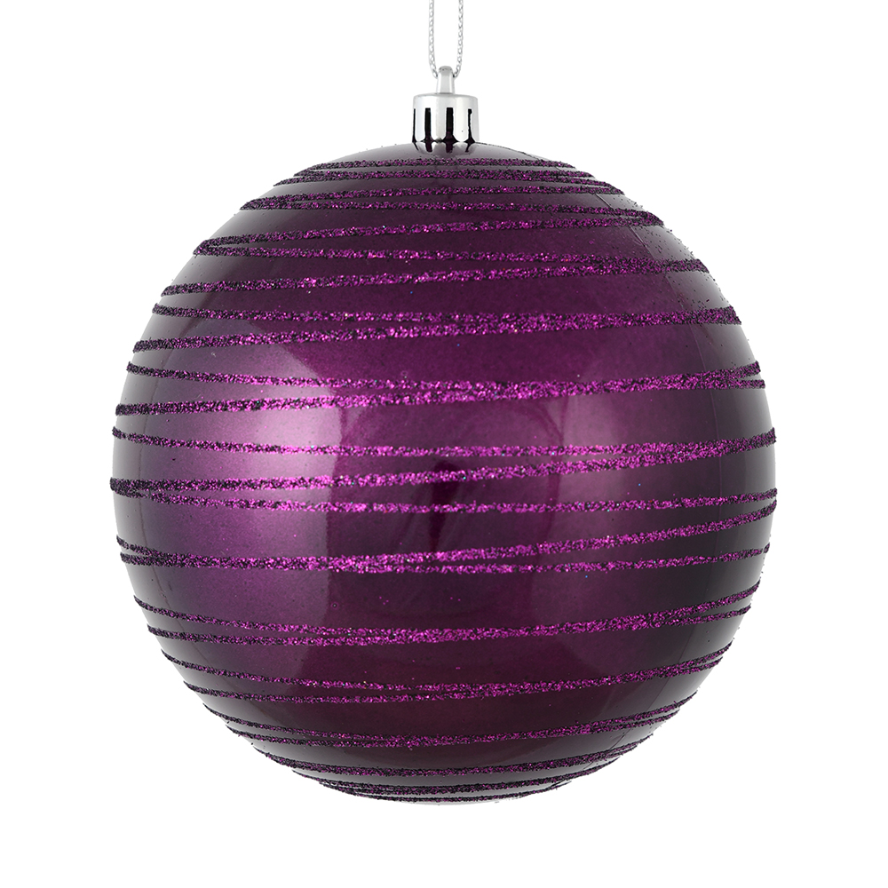 3 Inch Plum Candy Glitter Lines Round Christmas Ball Ornament Shatterproof