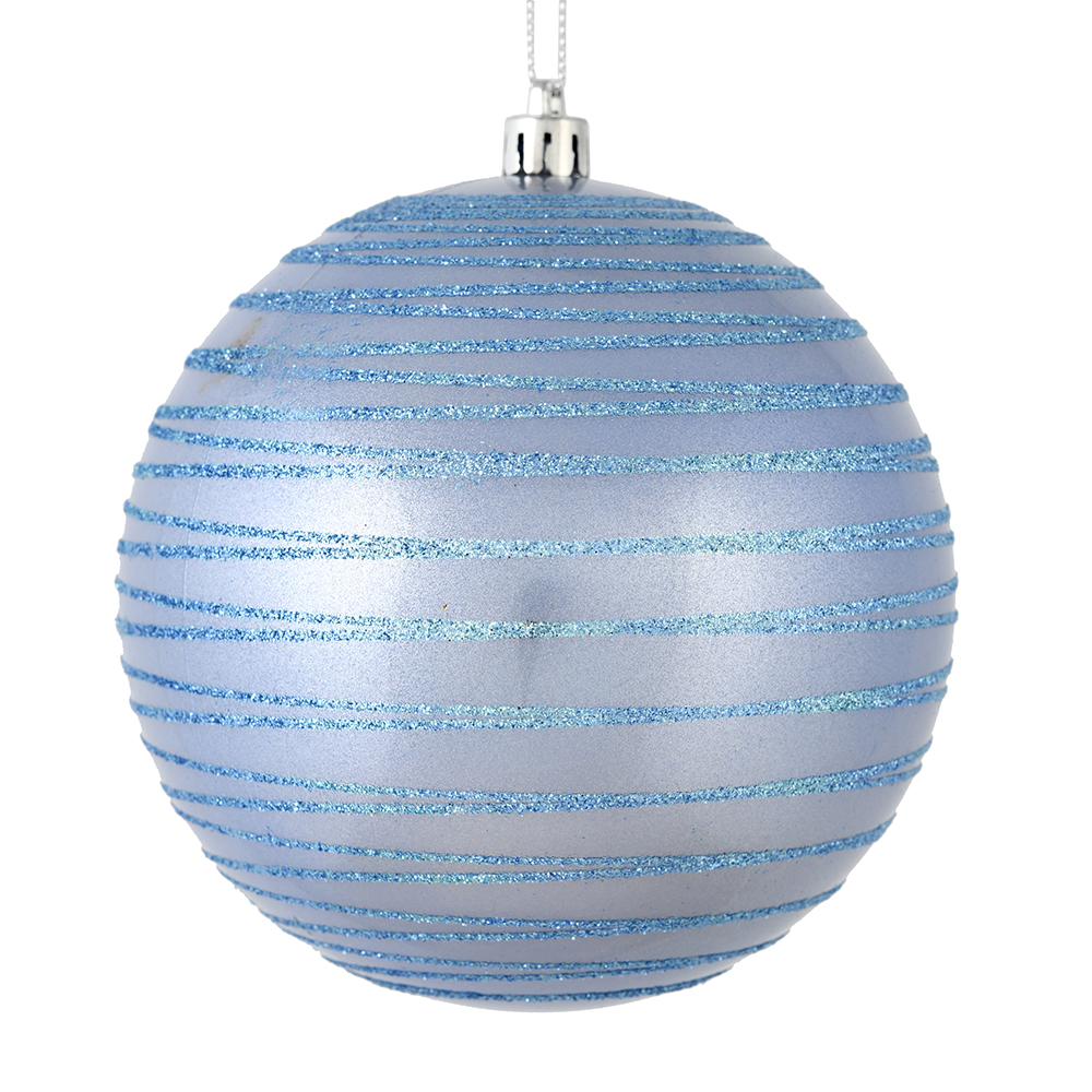 3 Inch Periwinkle Candy Glitter Lines Round Christmas Ball Ornament Shatterproof