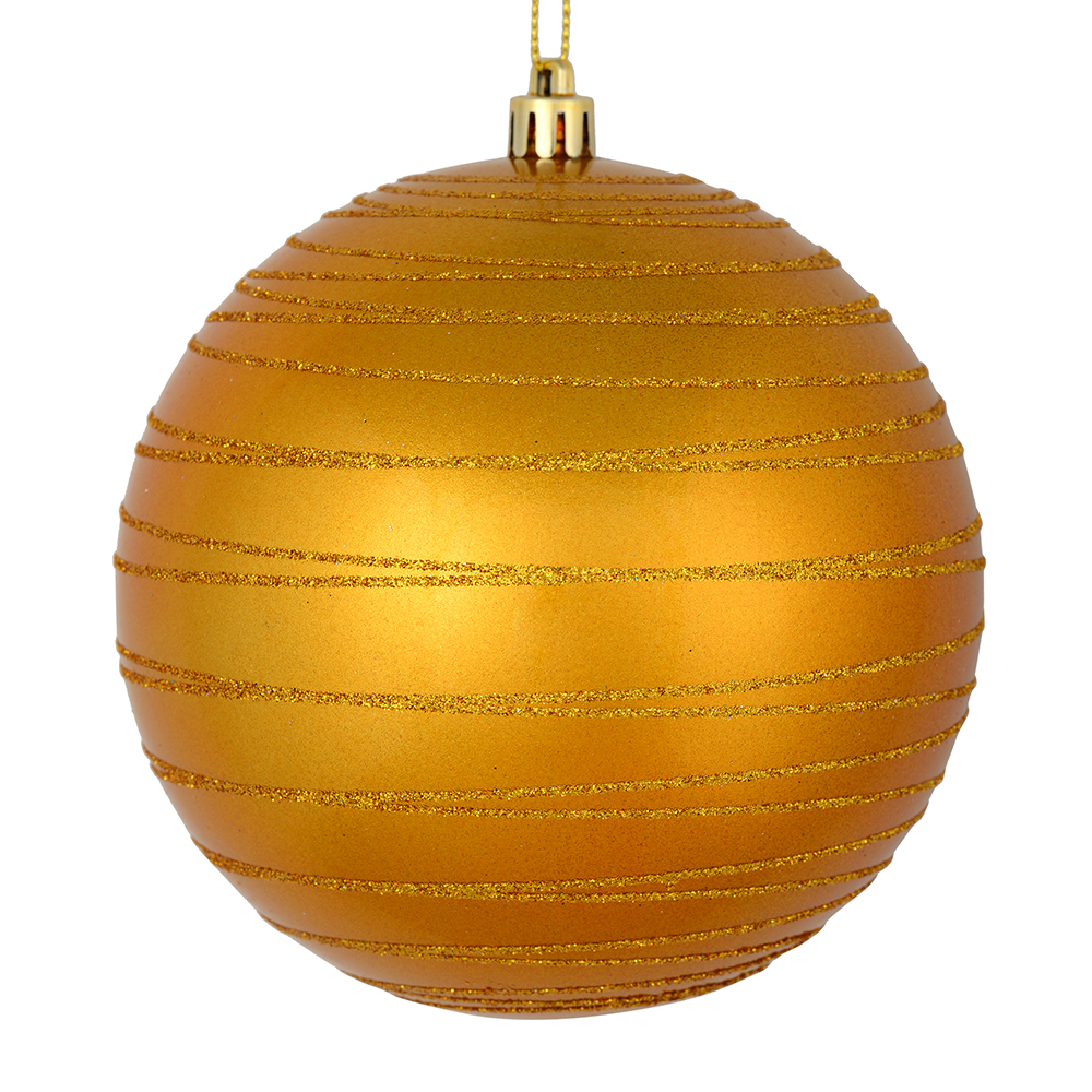 3 Inch Antique Gold Candy Glitter Lines Round Christmas Ball Ornament Shatterproof