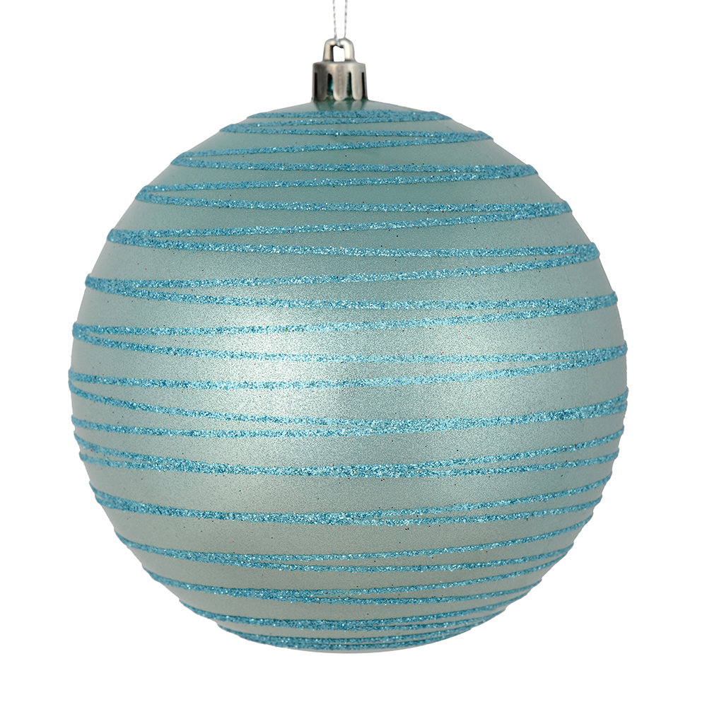 3 Inch Baby Blue Candy Glitter Lines Round Christmas Ball Ornament Shatterproof