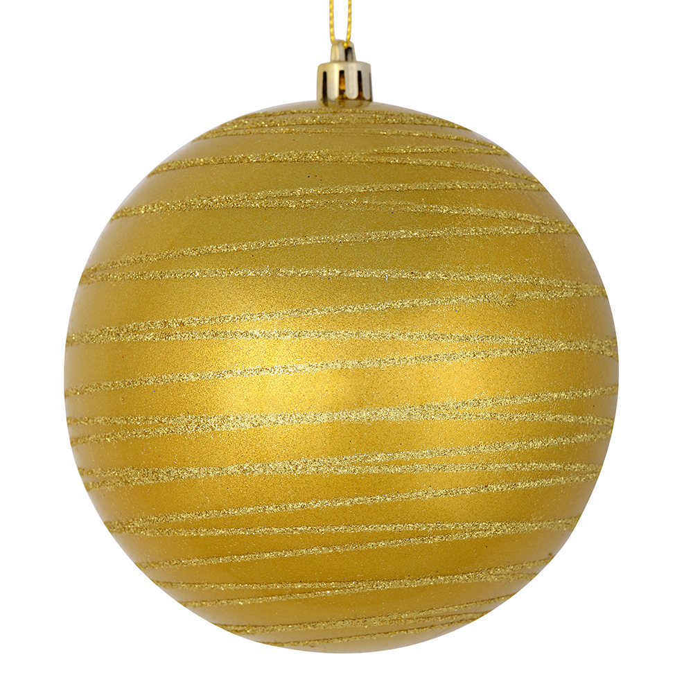 3 Inch Honey Gold Candy Glitter Lines Round Christmas Ball Ornament Shatterproof