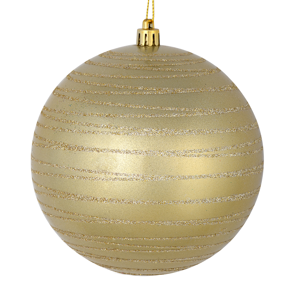 3 Inch Champagne Candy Glitter Lines Round Christmas Ball Ornament Shatterproof