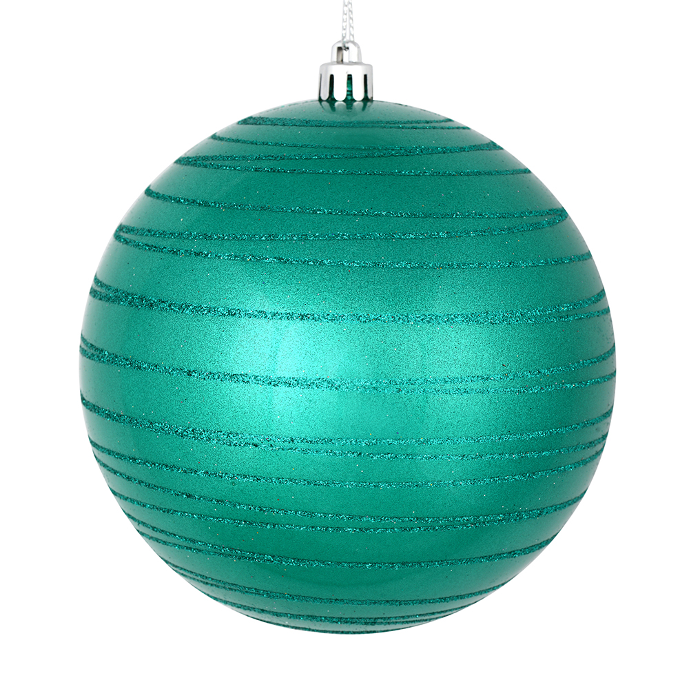 3 Inch Teal Candy Glitter Lines Round Christmas Ball Ornament Shatterproof