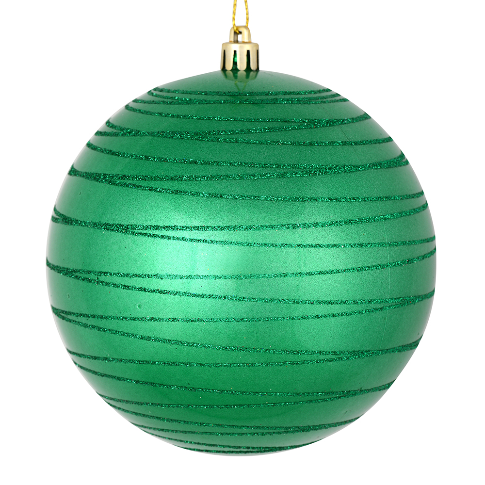 3 Inch Seafoam Green Candy Glitter Lines Round Christmas Ball Ornament Shatterproof