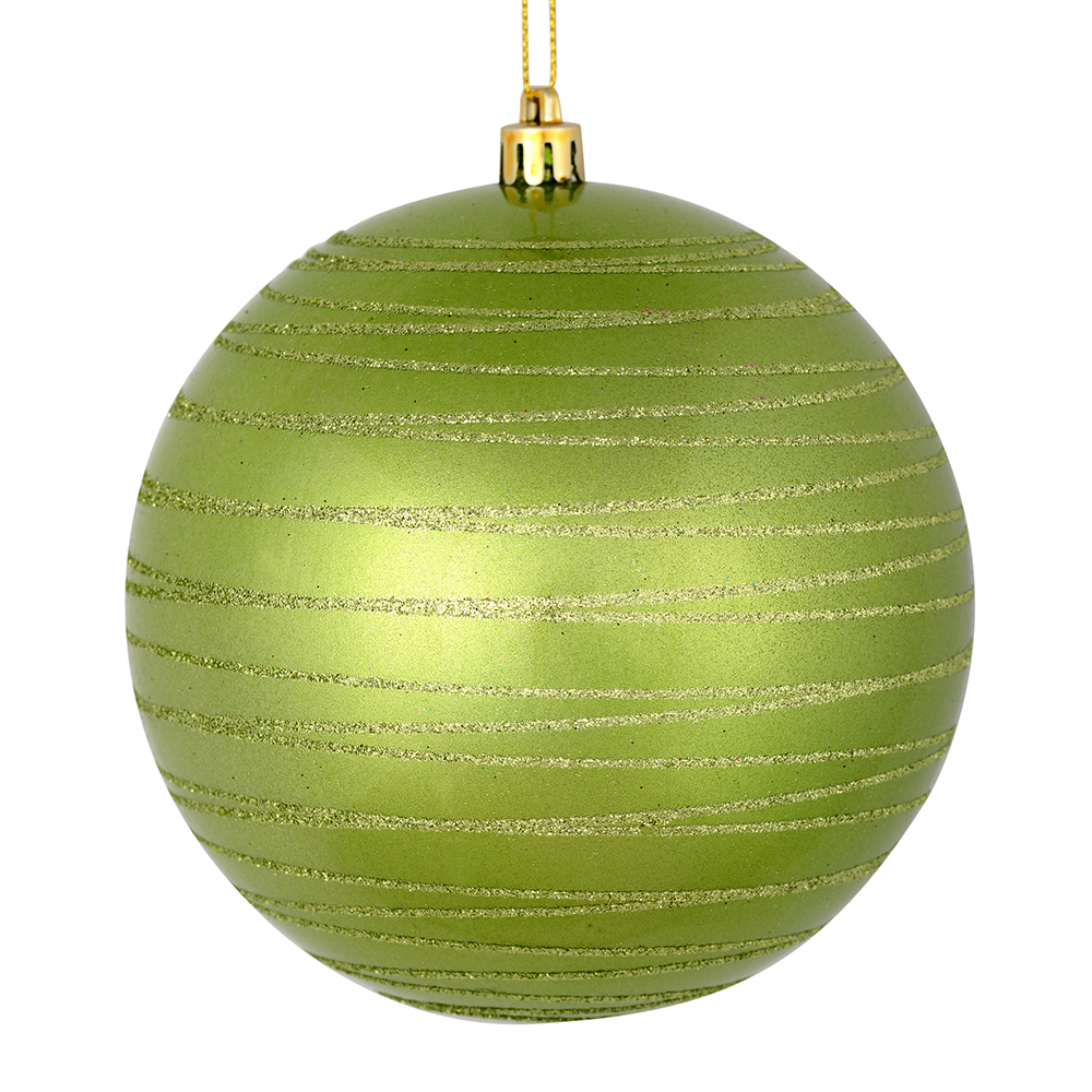 3 Inch Celadon Green Candy Glitter Lines Round Christmas Ball Ornament Shatterproof