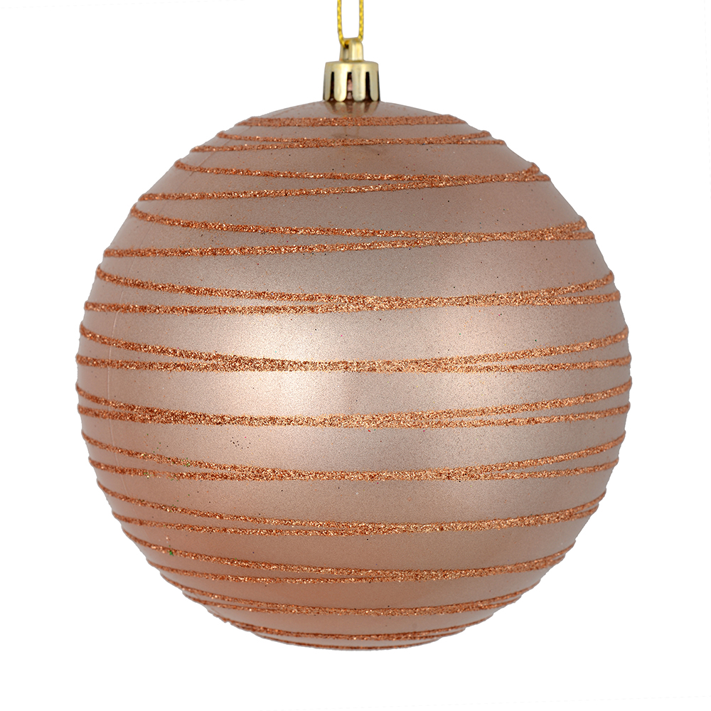 3 Inch Rose Gold Candy Glitter Lines Round Christmas Ball Ornament Shatterproof