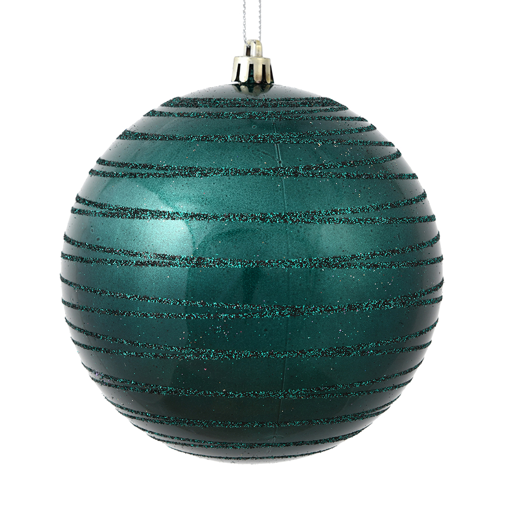 3 Inch Sea Blue Candy Glitter Lines Round Christmas Ball Ornament Shatterproof