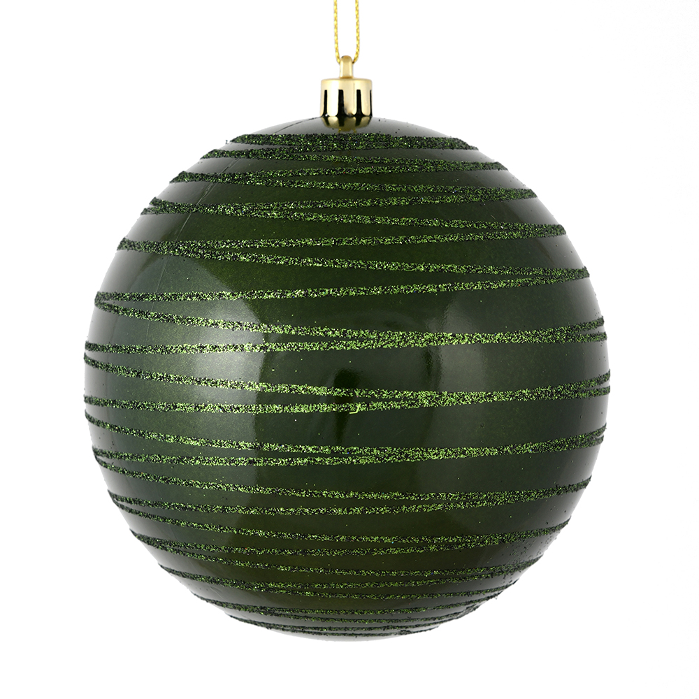 3 Inch Moss Green Candy Glitter Lines Round Christmas Ball Ornament Shatterproof