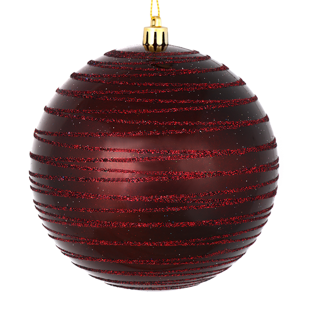 3 Inch Burgundy Candy Glitter Lines Round Christmas Ball Ornament Shatterproof