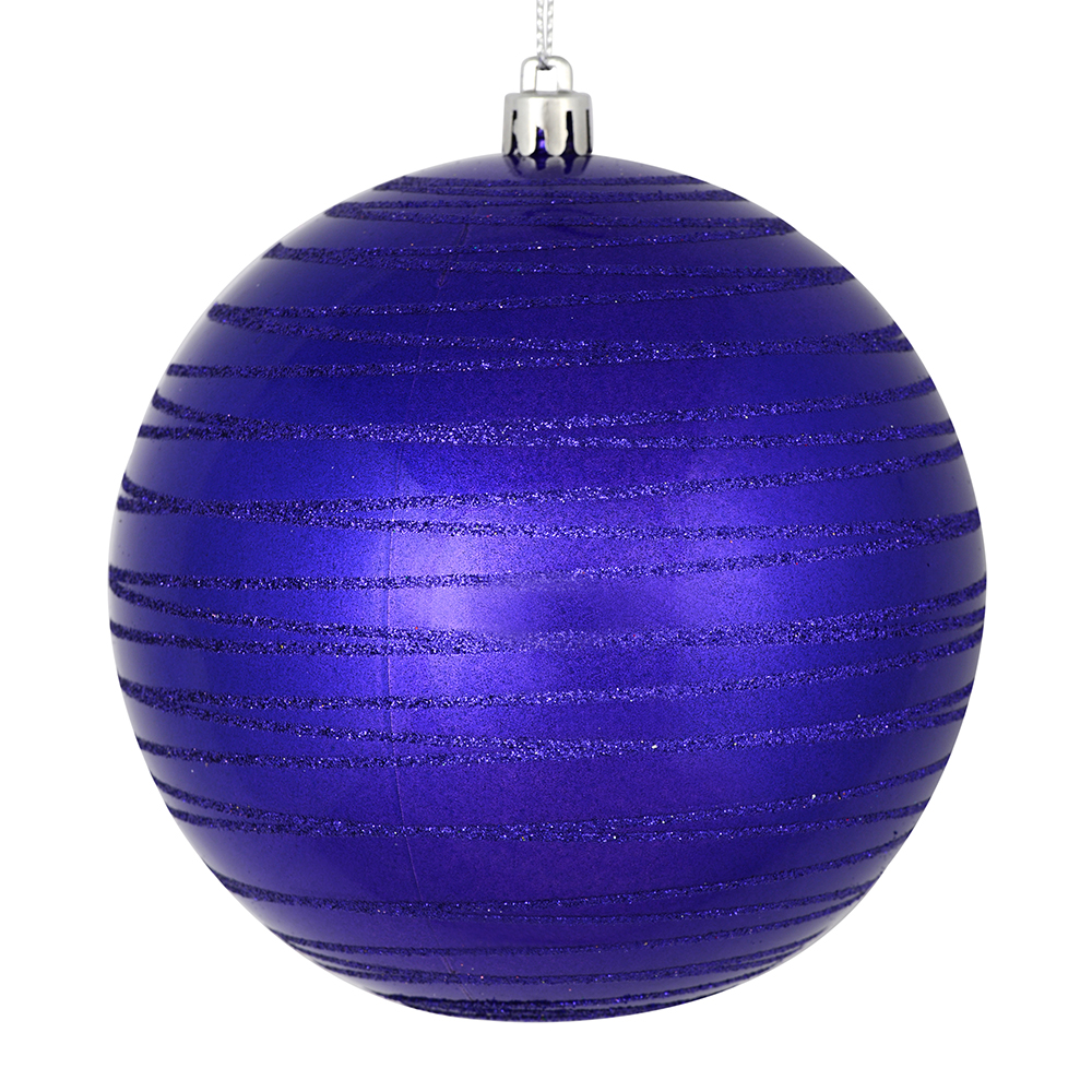3 Inch Purple Candy Glitter Lines Round Christmas Ball Ornament Shatterproof