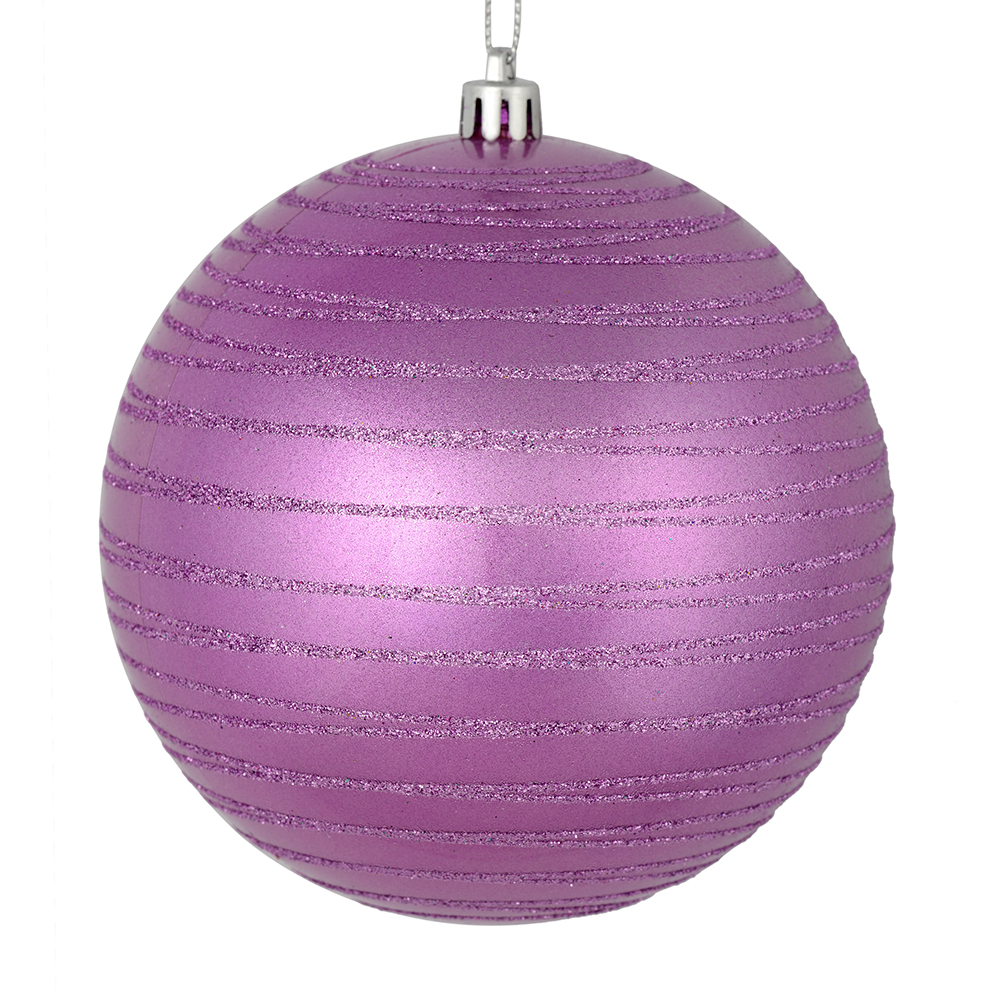 3 Inch Orchid Candy Glitter Lines Round Christmas Ball Ornament Shatterproof