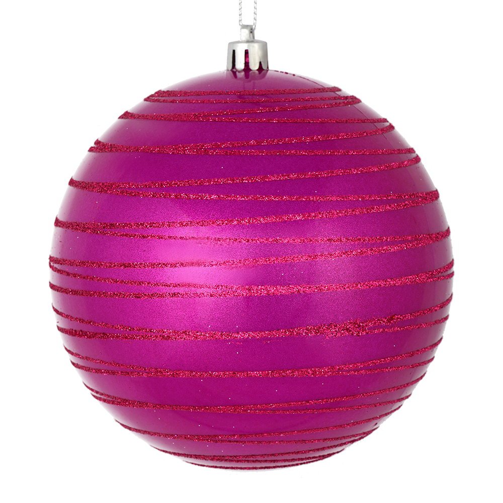 3 Inch Fuchsia Pink Candy Glitter Lines Round Christmas Ball Ornament Shatterproof