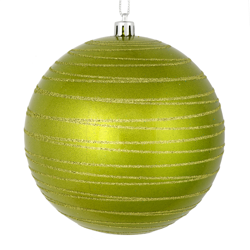 3 Inch Lime Green Candy Glitter Lines Round Christmas Ball Ornament Shatterproof