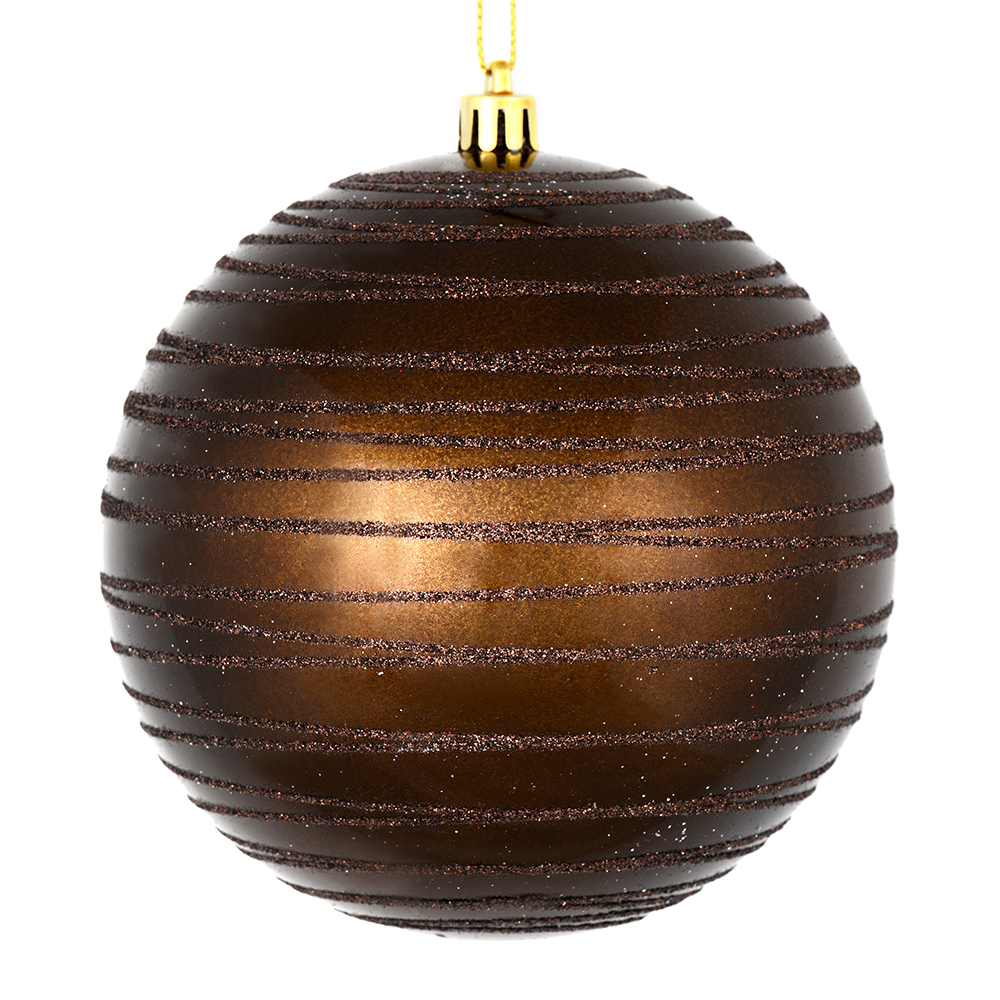 3 Inch Chocolate Brown Candy Glitter Lines Round Christmas Ball Ornament Shatterproof