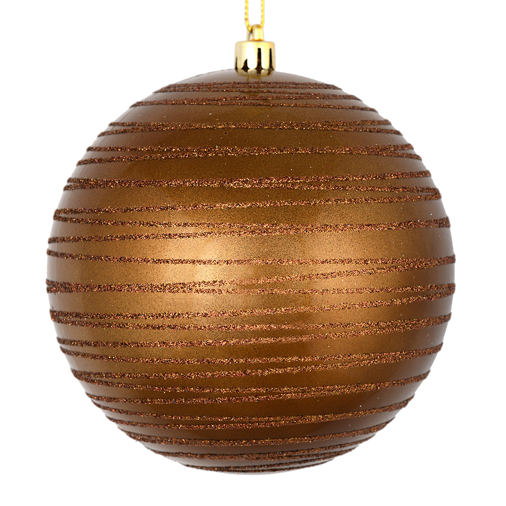 3 Inch Mocha Candy Glitter Lines Round Christmas Ball Ornament Shatterproof