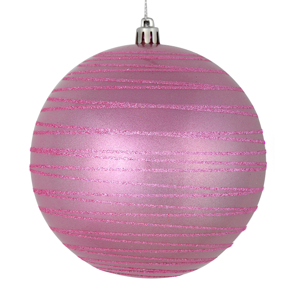 3 Inch Pink Candy Glitter Lines Round Christmas Ball Ornament Shatterproof