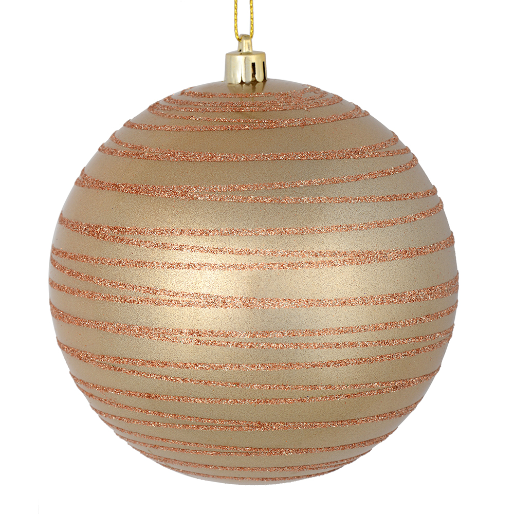 3 Inch Cafe Latte Candy Glitter Lines Round Christmas Ball Ornament Shatterproof