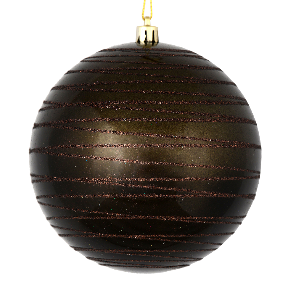 3 Inch Gunmetal Grey Candy Glitter Lines Round Christmas Ball Ornament Shatterproof