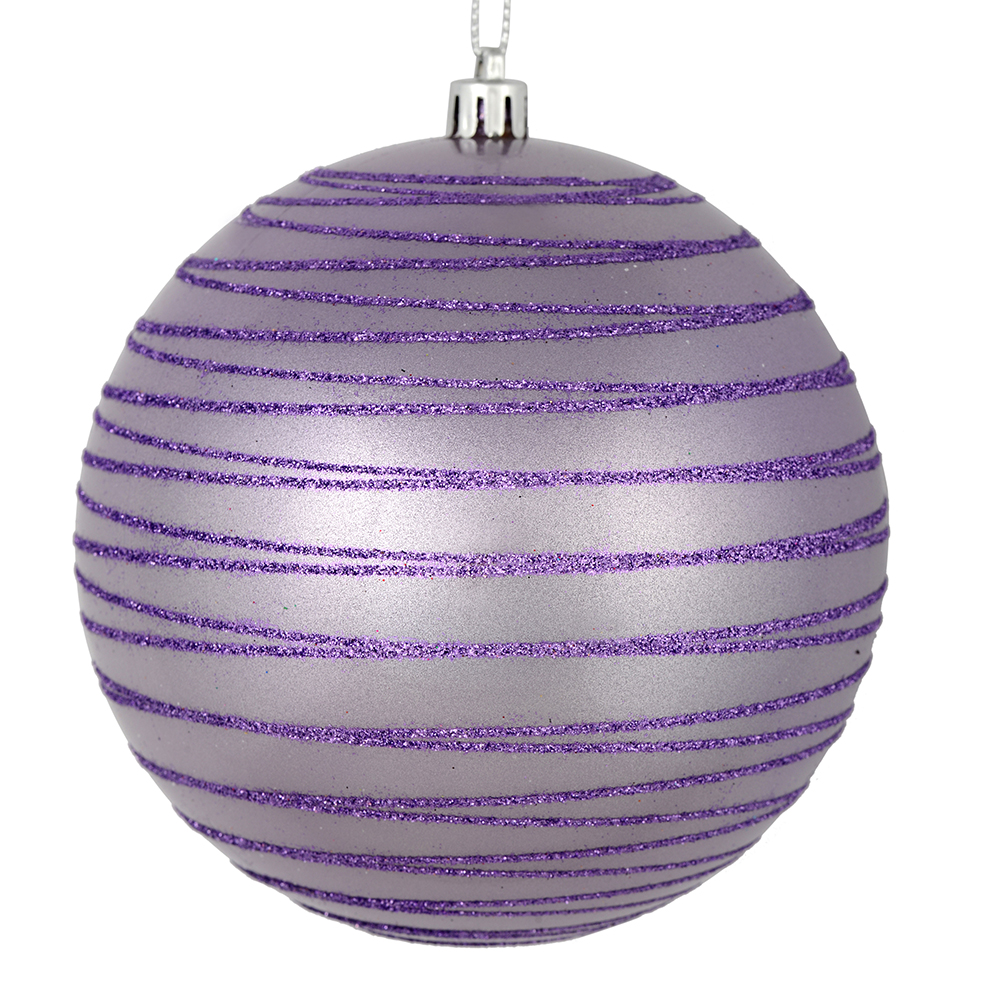 3 Inch Lavender Candy Glitter Lines Round Christmas Ball Ornament Shatterproof