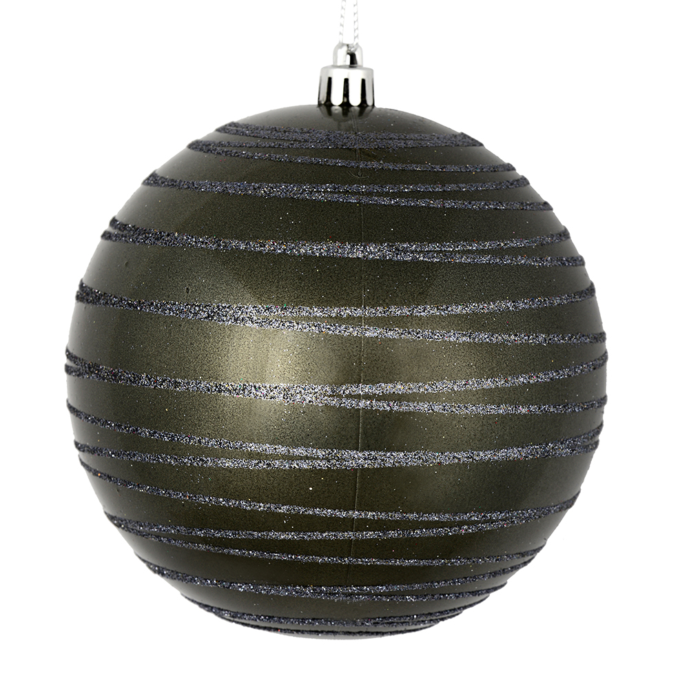 3 Inch Pewter Candy Glitter Lines Round Christmas Ball Ornament Shatterproof