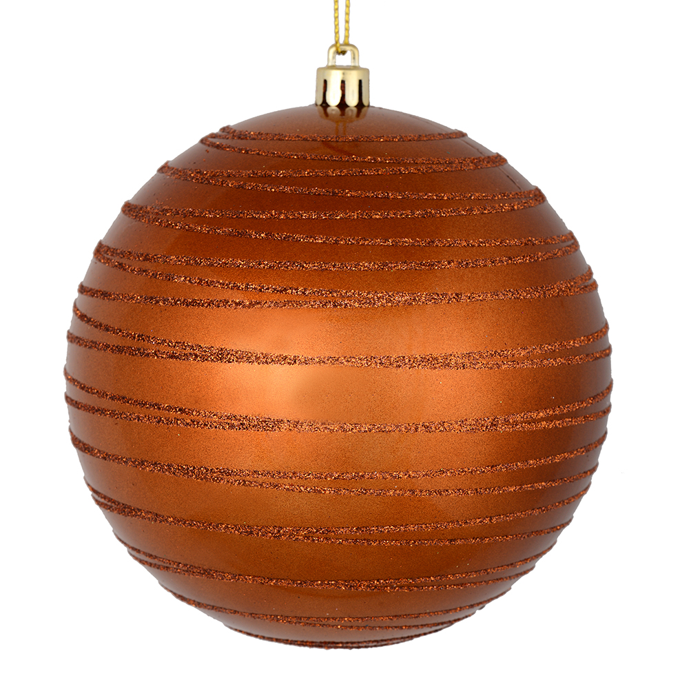 3 Inch Copper Candy Glitter Lines Round Christmas Ball Ornament Shatterproof