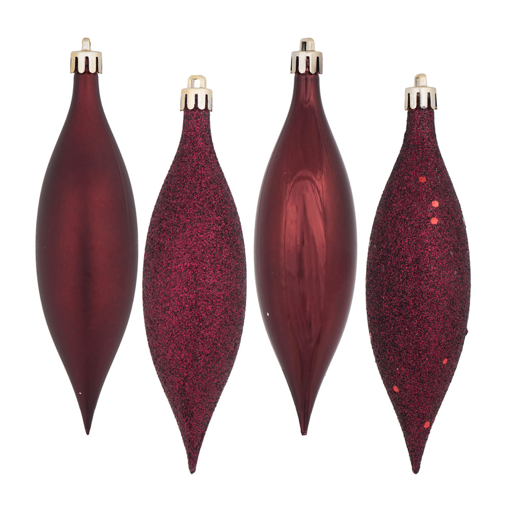 5.5 Inch Burgundy Drop Christmas Ornament Assorted Finishes