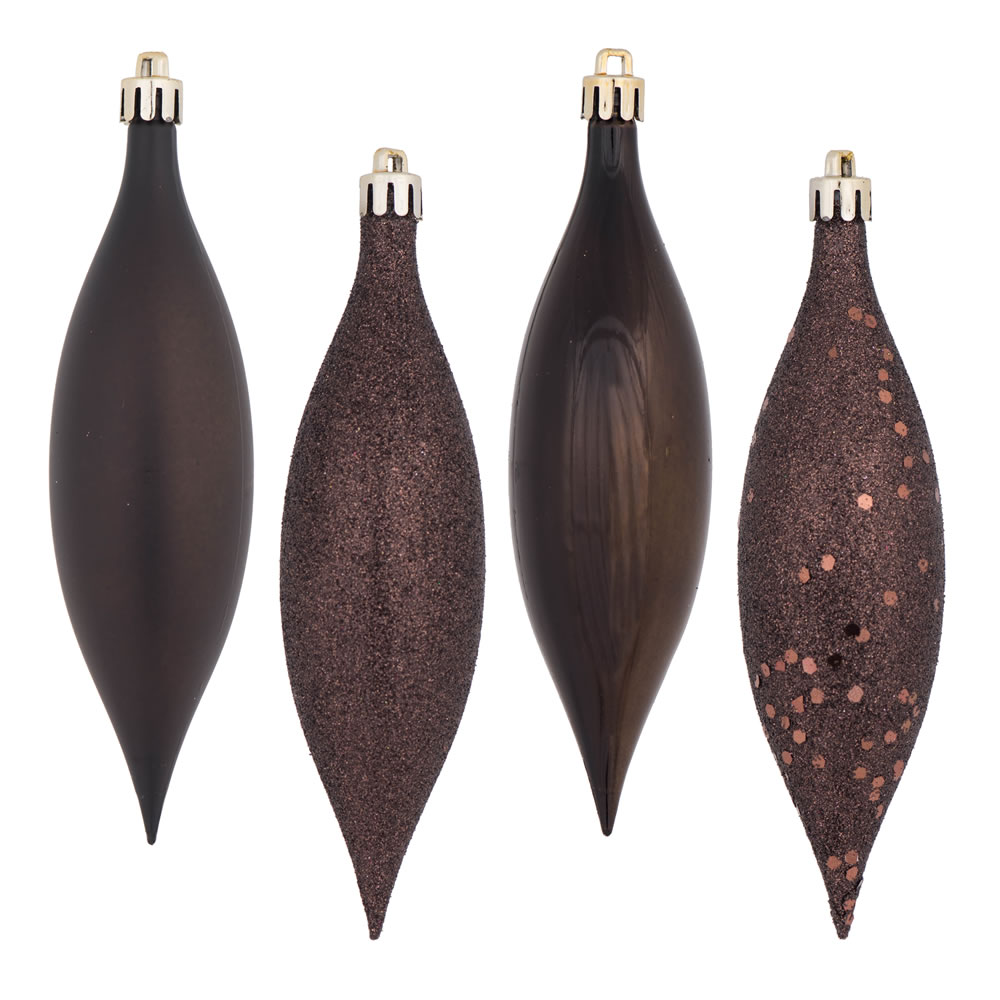 5.5 Inch Chocolate Brown Drop Christmas Ornament Assorted Finishes