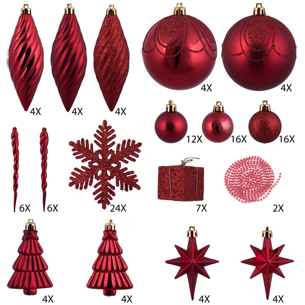 125 Piece Red Assorted Plastic Christmas Ornament Set