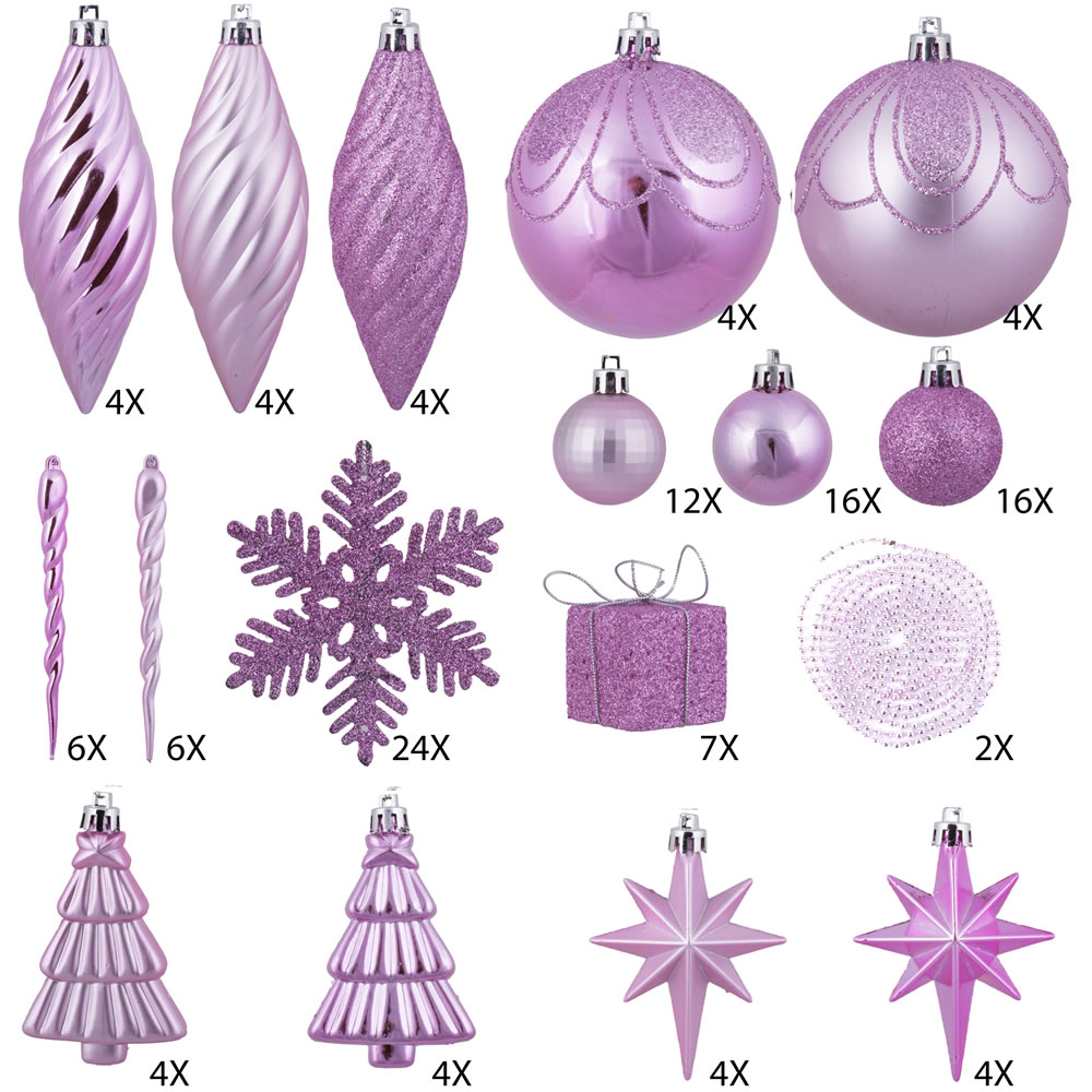 125 Piece Pink Assorted Plastic Christmas Ornament Set