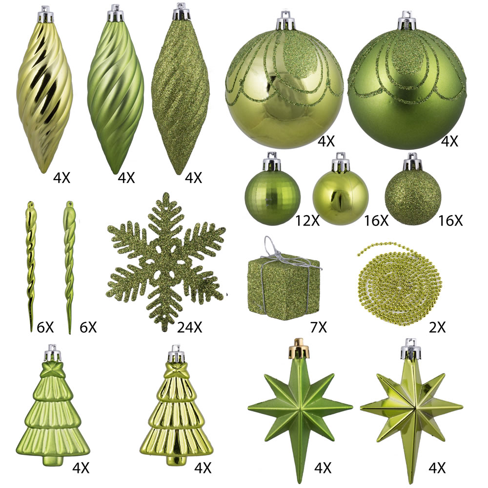 125 Piece Lime Green Assorted Plastic Christmas Ornament Set