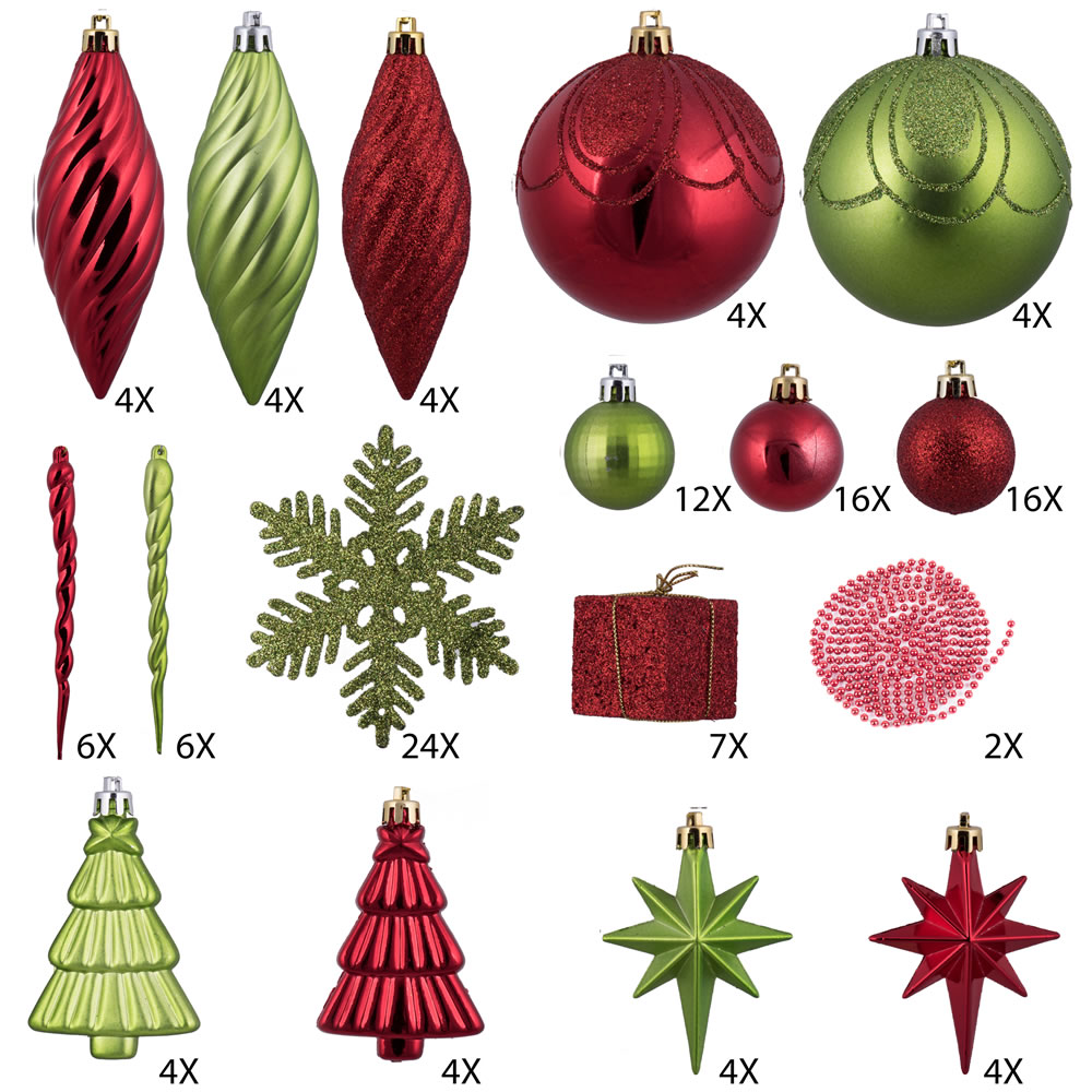 125 Piece Red and Kiwi Green Assorted Plastic Christmas Ornament Set