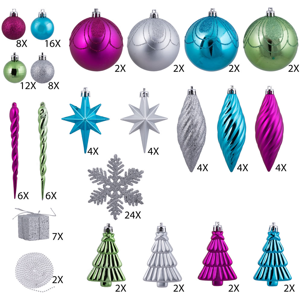 125 Piece Multi Color Assorted Plastic Christmas Ornament Set