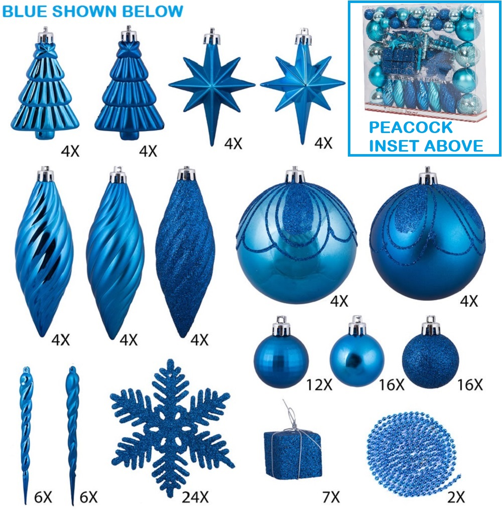 125 Piece Peacock Blue Assorted Plastic Christmas Ornament Set