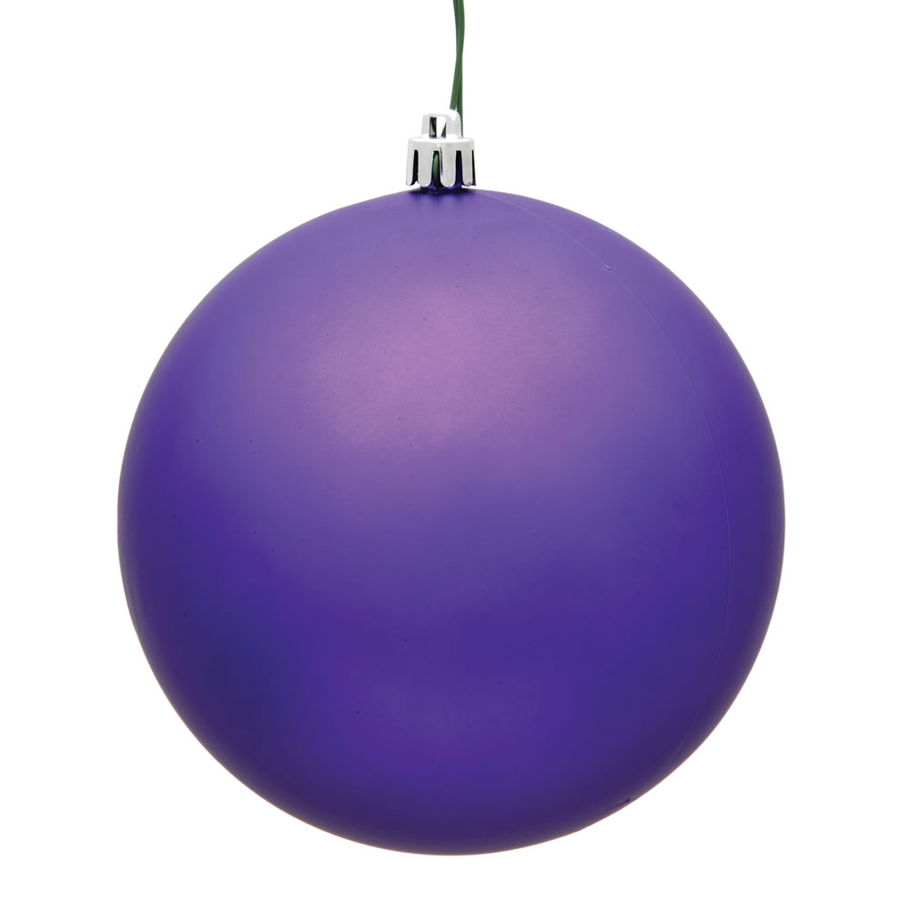 2.4 Inch Purple Matte Finish Round Christmas Ball Ornament Shatterproof UV