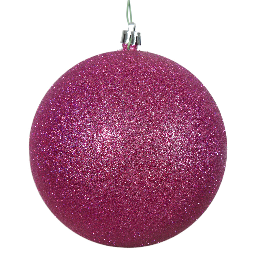 2.75 Inch Magenta Glitter Finish Round Christmas Ball Ornament Shatterproof